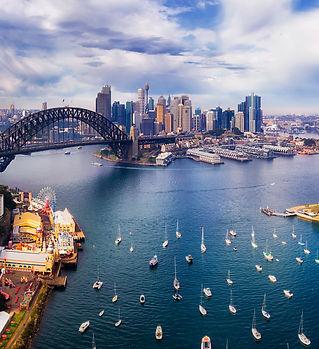 Wide aerial panorama of Sydney city CBD