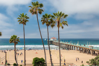 Manhattan Beach and Pier at day time in