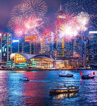 Firework show in Hong Kong Victoria Harb