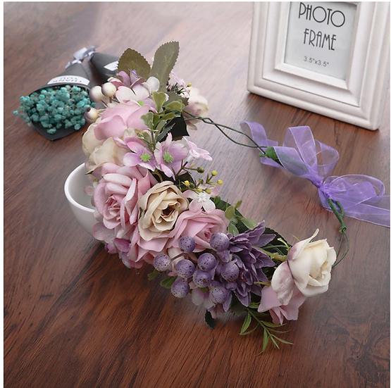 Large Pink & Purple Flower Crown