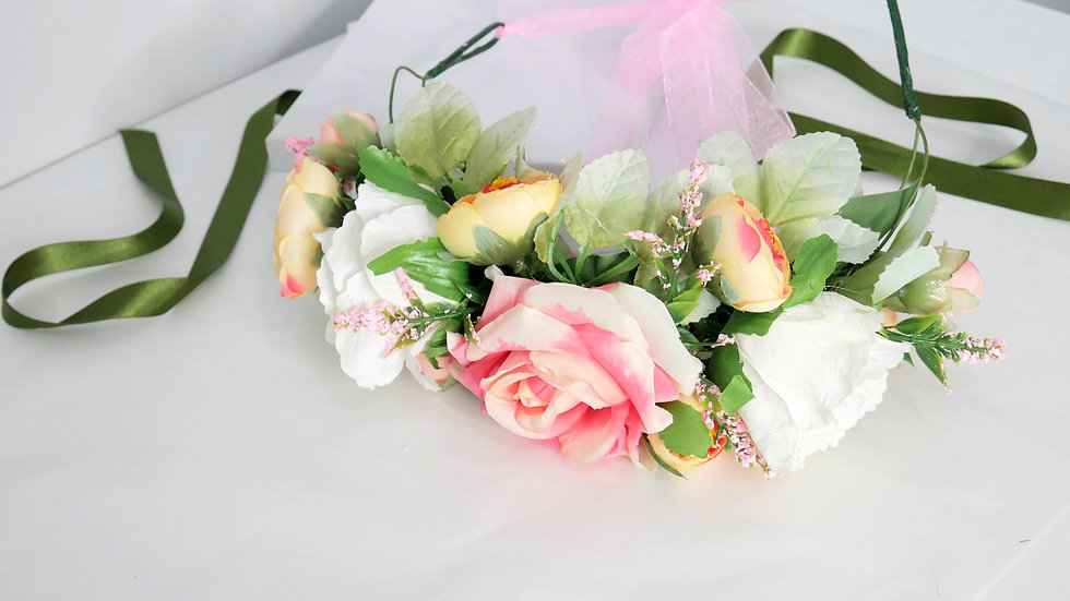 Large flower crown in pale pink-white & yellow