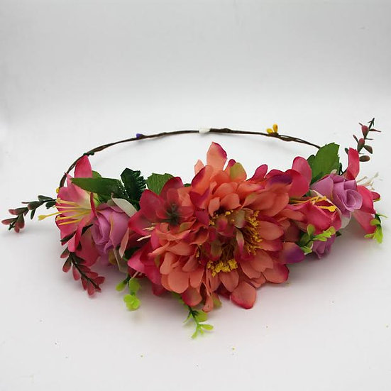 flower crown large orange and pink