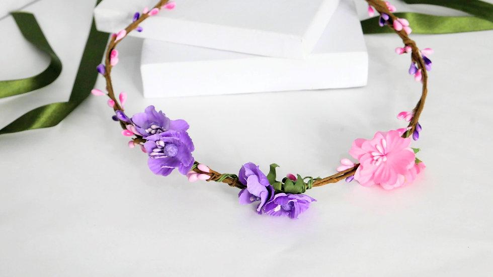 Flower crown purple/pink small