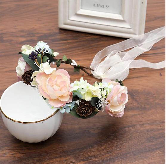Peach & Fur cone Flower Crown