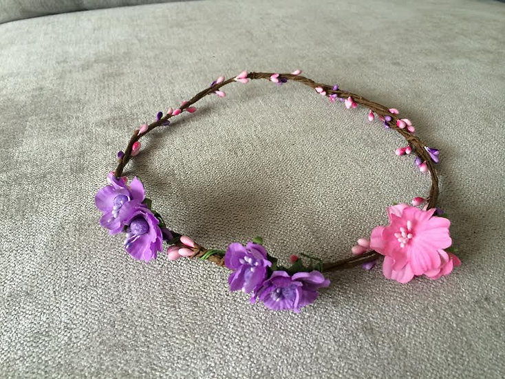 Flower crown purple/pink small