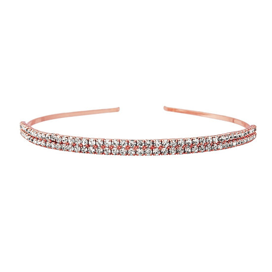Two Row Crystal Head Band in Rose Gold