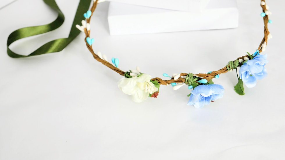 Flower crown blue small