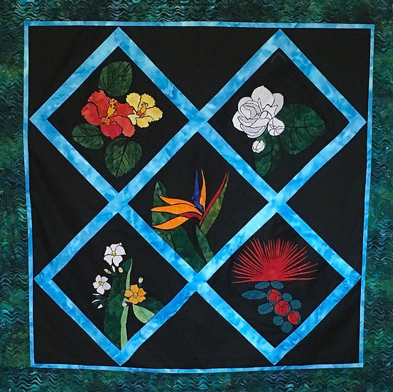Hawaiian Tropical Stained Glass - 5 Flowers
