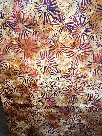 Island Batik - Yellow gold with dark red brown