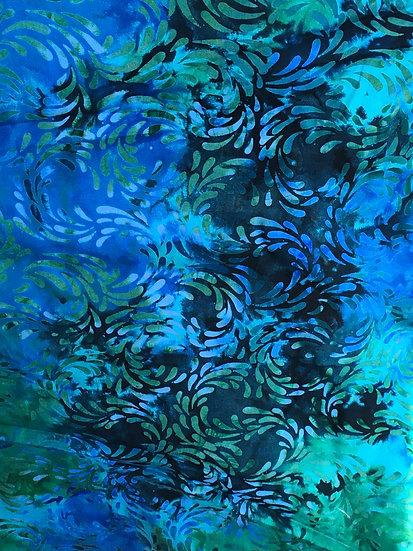Island Batik Turquoise blue with splashes of pink