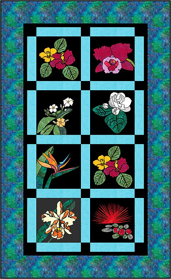 Hawaiian Tropical Stained Glass 8 flowers