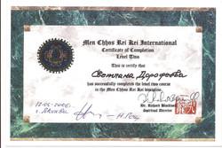 Сертификат обучения 2 ступени Мен Чо