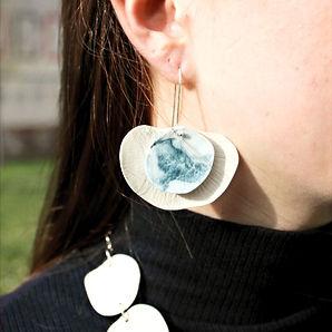 Boucles d'oreille Porcelaine marbrée Col