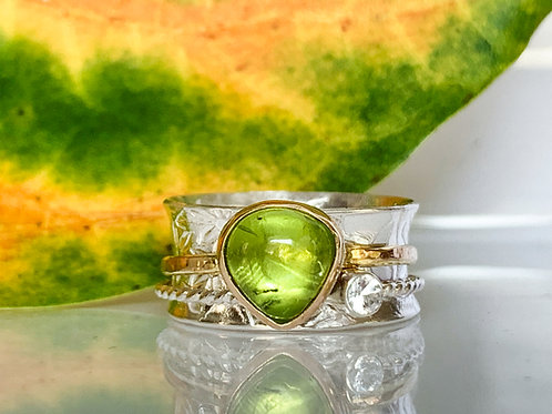 Peridot and White Topaz spinner ring in 14k Gold and SterlingSilver
