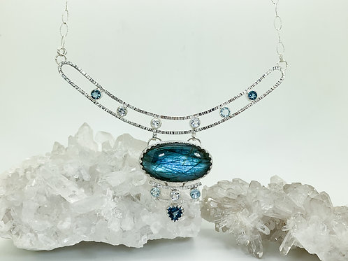 The Ocean Calls Labradorite and Topaz Necklace