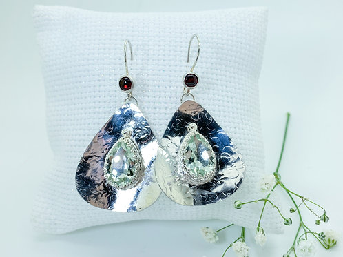 Garnet and Green Amethyst earrings