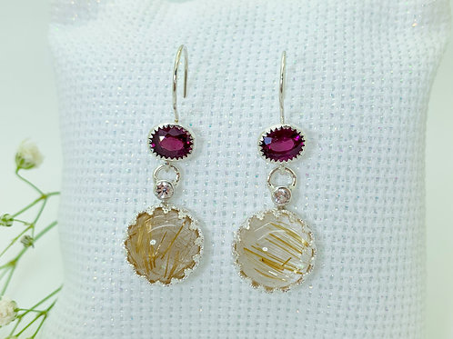 Garnet and Golden rutilated quartz earrings