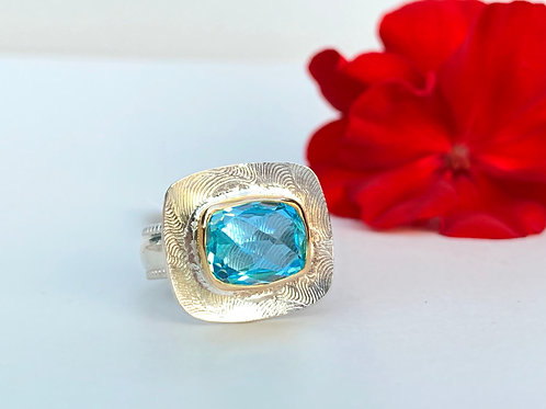 Sky blue topaz ring in 14k gold and sterling silver