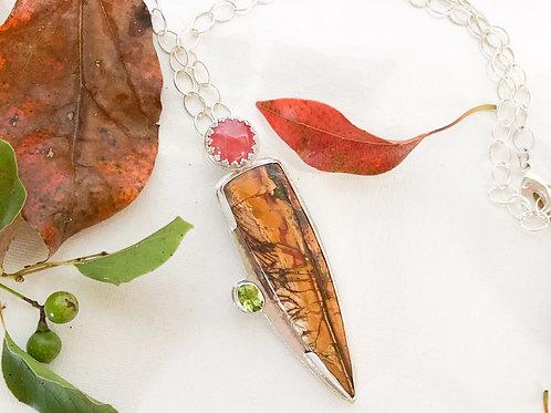 Rhodochrosite and Jasper pendant