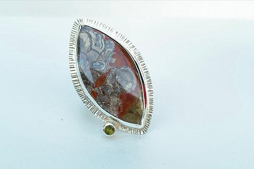 Rhyolite Jasper and Tourmaline ring