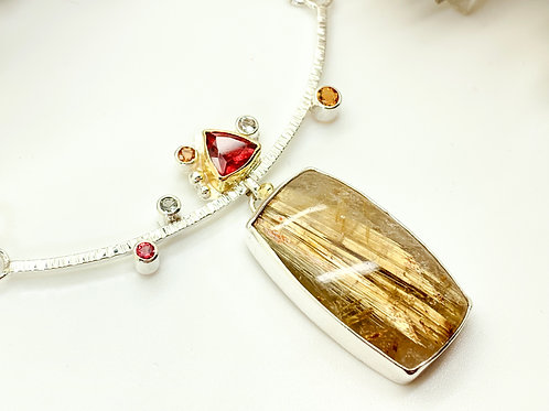 Golden Rutilated Quartz, Tourmaline and Sapphire necklace