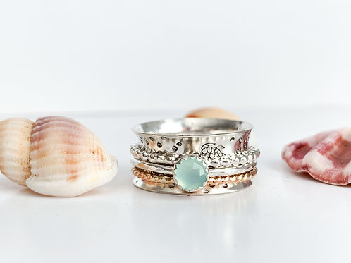 Sea Turtles spinner ring with Aqua Chalcedony in SterlingSilver and gold filled