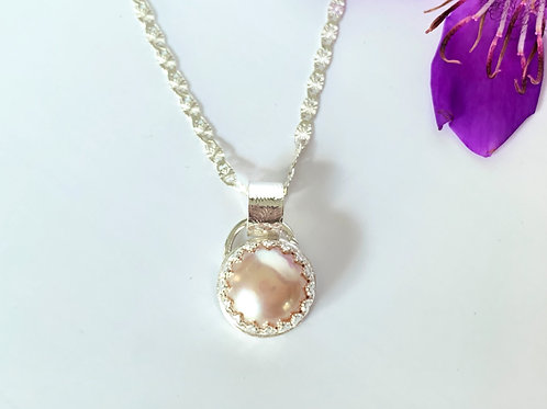 Peach freshwater pearl pendant in sterling silver