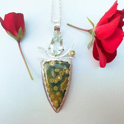 Ocean jasper and amethyst pendant