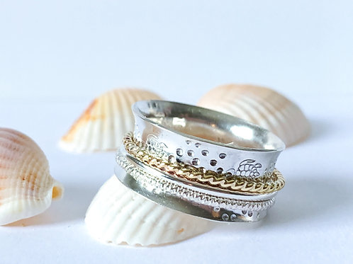 Sea Turtles spinner ring in  SterlingSilver and gold filled