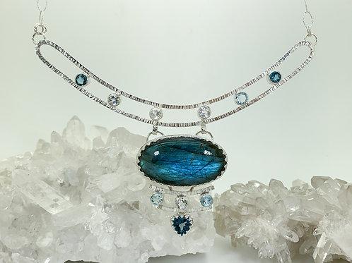 The Ocean Calls Labradorite and Topaz Necklace