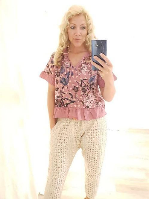 Helga May Berry Cropped Glitter Heart Top