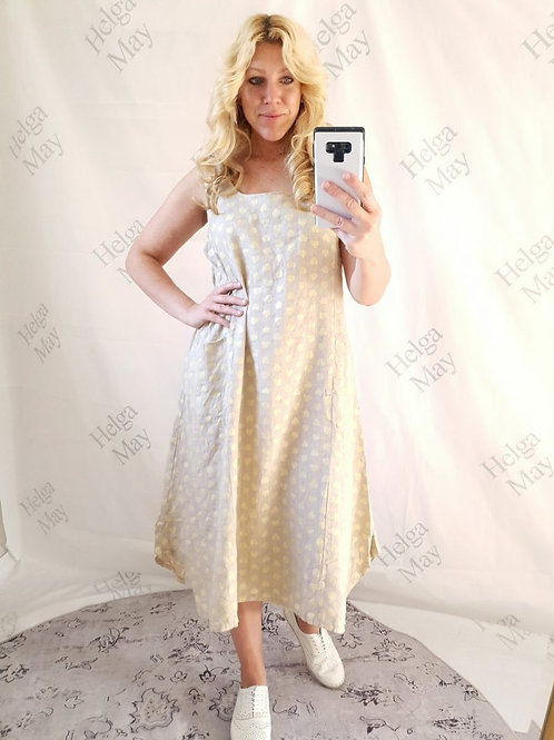 Helga May Beige Heart Of Gold Wood Button Dress