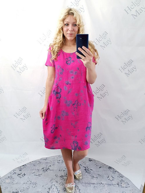 Helga May Hot Pink Blue Blossom Jungle Dress