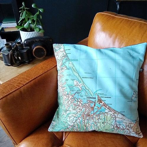 Tauranga Map Cushion Cover