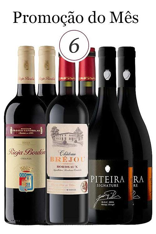 Especial: 3 Grandes Vinhos. 6 garrafas.