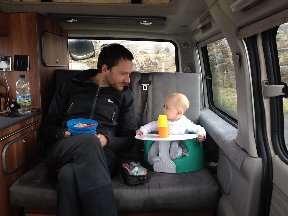 Eating breakfast with baby in the Mazda Bongo