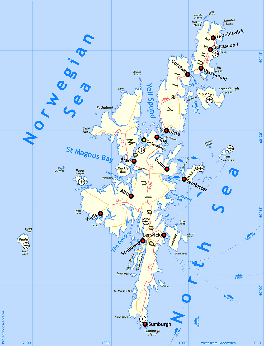 Map of Shetland Isles
