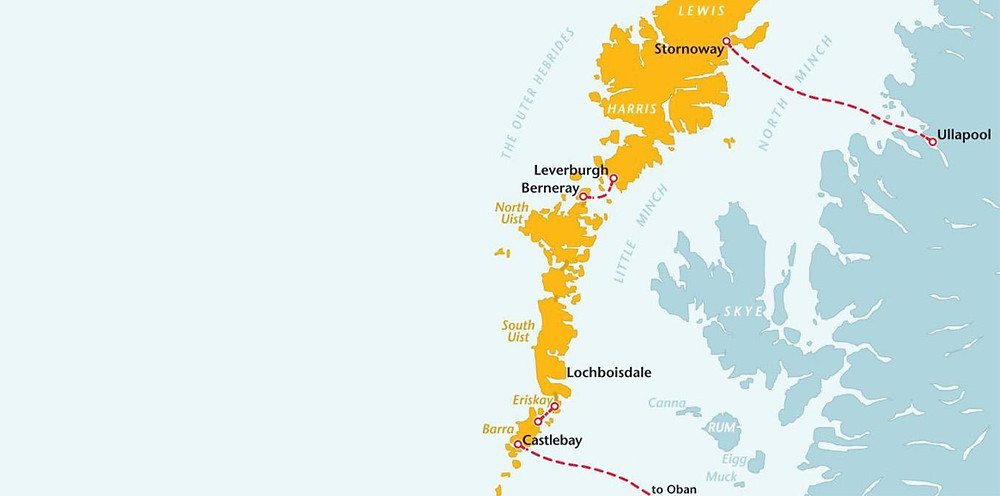 Map of Calmac ferry routes in Outer Hebrides