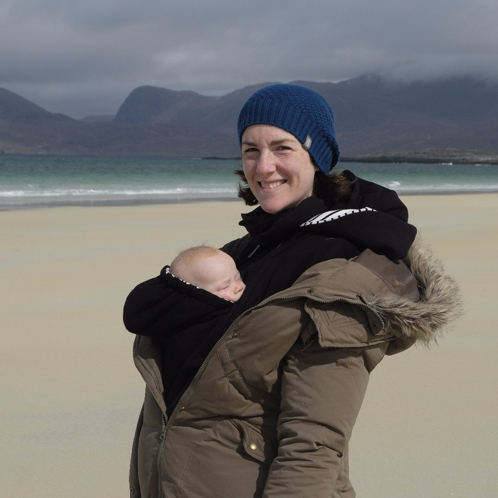 Beach walk with baby in the Outer Hebrides, Isle of Harris
