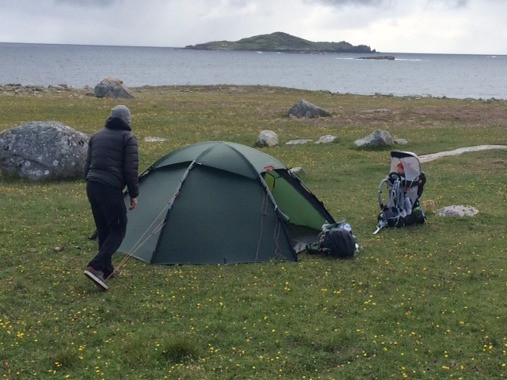 Camping with baby in the Hilleberg Staika on Omey Island, County Galway