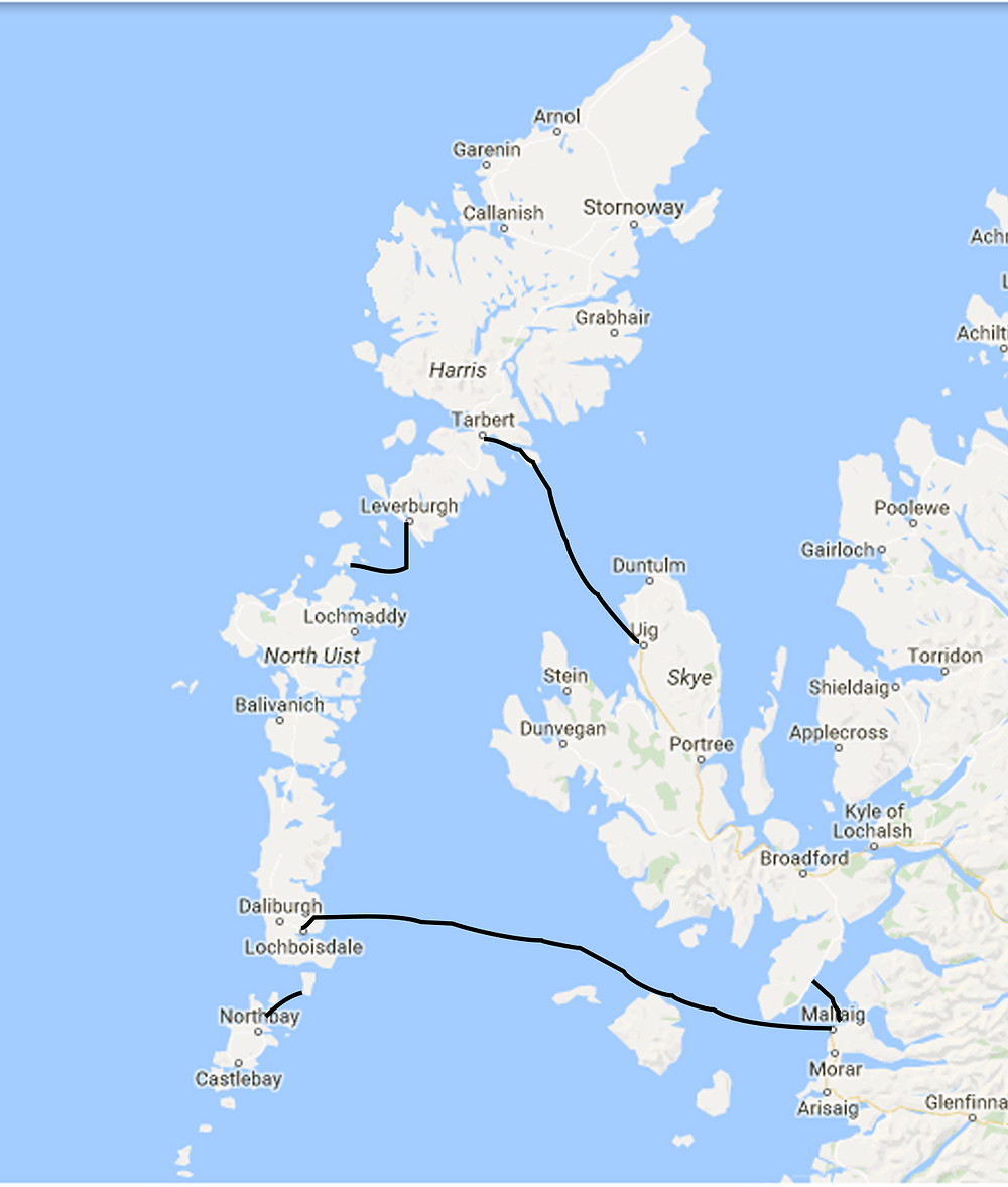 Calmac hopscotch route in the Outer Hebrides