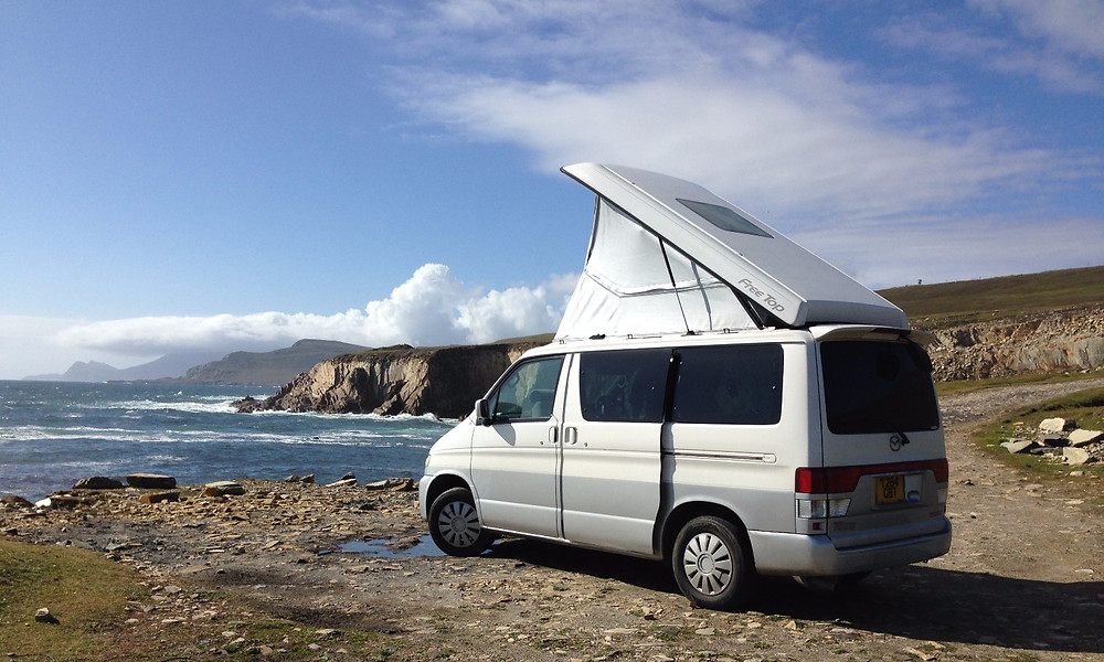 Mazda Bongo with AFT roof raised, wild camping in Achill Island