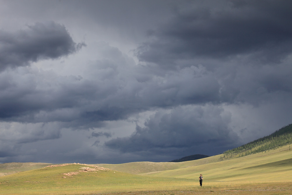 Running from rainstorm in Mongolia