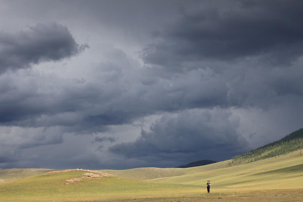 Running from rainstorm in Mongolia