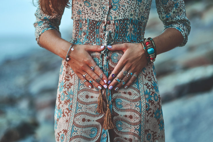 Bohemian chic gypsy woman with manicure