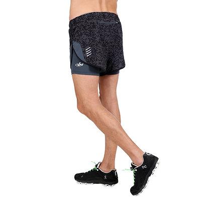 מכנס ריצה קצר + טייץ גבר - 771888 - שחור אפור