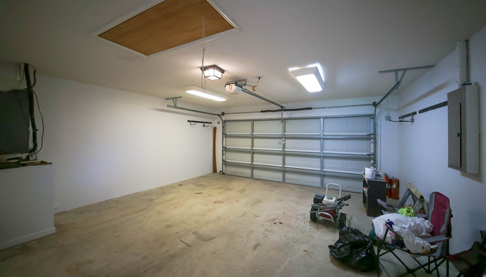 Garage with clutter