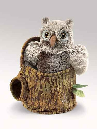 Owlet in Tree Stump Puppet by Folkmanis