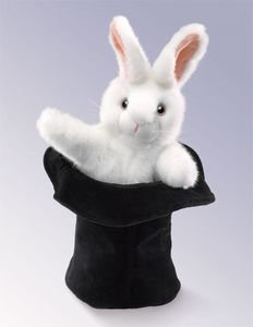 Rabbit in Hat Hand Puppet by Folkmanis