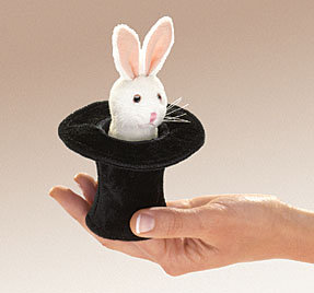 Rabbit in Hat Finger Puppet by Folkmanis